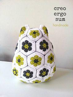 Crochet Owl Pillow Crochet Pillow African by CreoErgoSumHandmade