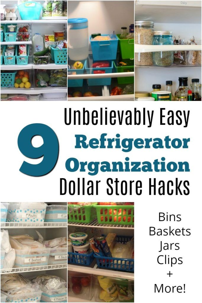 Unbelievably Easy Refrigerator Organization Dollar Store Hacks. Does your fridge need some organization, and you don't want to spend lots of money. I've got you covered with these 9 hacks.