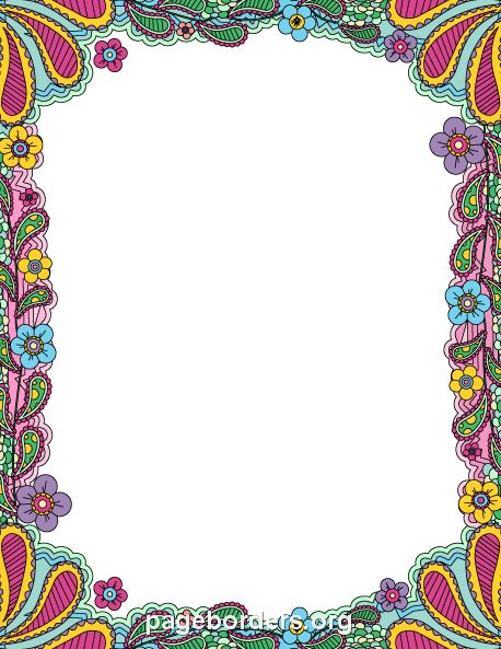 Printable colorful doodle border. Use the border in Microsoft Word or other programs for creating flyers, invitations, and other printables. Free GIF, JPG, PDF, and PNG downloads at  http://pageborders.org/download/colorful-doodle-border/