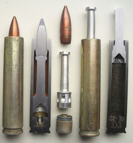 "Silent/flameless ammunition special cartridges developed by the soviets in the mid 1950s by request of the KGB. NM Elizarov's team, developed a special subsonic bullet for the 7.62x39 cartridge. It was adopted for service in 1962, and given the army designation ""7.62 US"" (US = reduced speed Rus.).  It would be resting on a piston. When fired the piston would propel to bullet forward to a speed of 170m/s. The piston would stop at the end of the Cartridge, trapping the gasses inside of it."