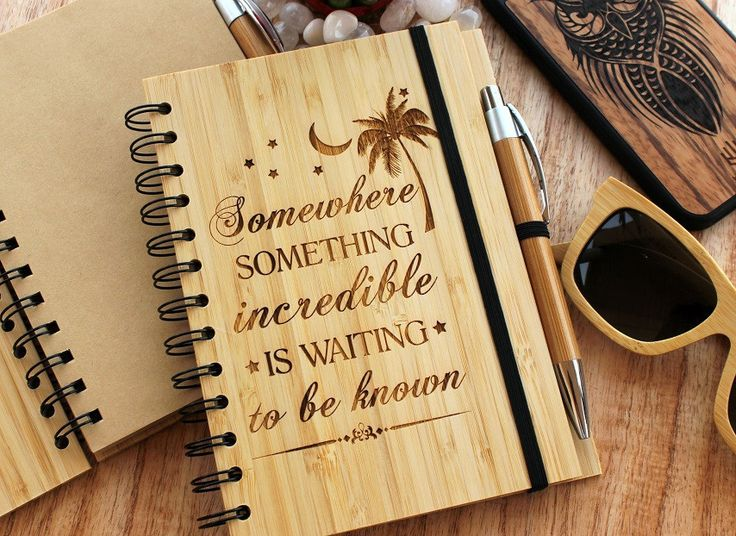Something incredible is waiting to be known - bamboo notebook - woodgeekstore- The world is full of wonderful things waiting to be discovered. New cultures, new places, new experiences. A world of new possibilities lies before us. An engraved bamboo notebook for all travelers and seekers of new experiences.