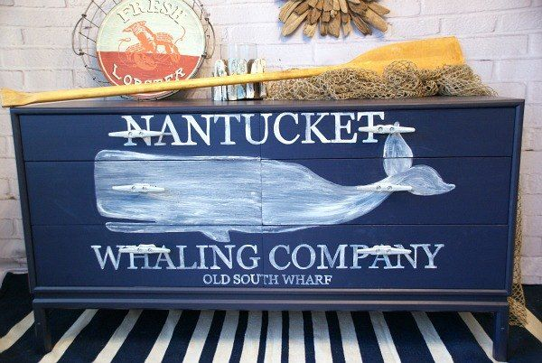 nautical whale dresser, chalk paint, diy, home decor, painted   furniture  **I love the dock cleats used as drawer pulls!**