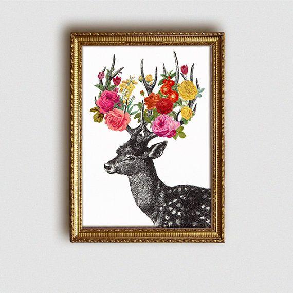 DEER Drucken print Digital Kunst A4 von Fleuriosity auf Etsy