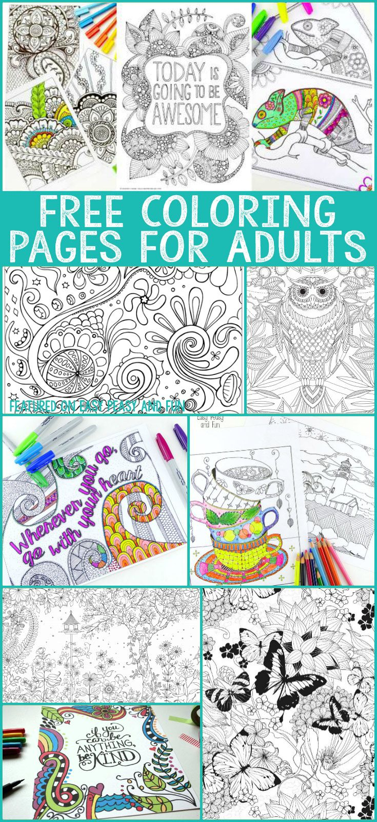 A whole bunch of gorgeous and free colouring pages for adults! As grown ups should have some colouring fun too°°