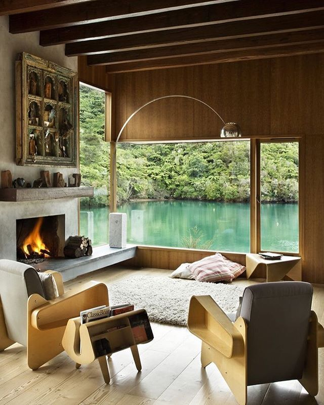 House Apartment Breathtaking Waterfall Bay Home Design By Bossley Architects Maginificent Living Room With Fireplace And Lake Scenery