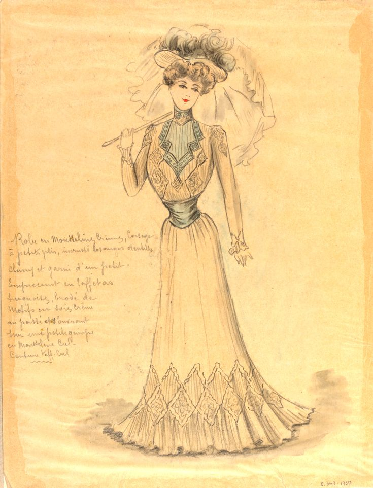 "Jeanne Paquin (1869-1936), fashion design, Paris, 1900: ""This is a design for a day dress for the Summer collection of 1900...This matches the diamond patterns found alongside the bottom part of the dress and the top part of the long tight sleeves. This design is an example of the dominating popular S-Bend silhouette present in fashion designs up until around 1908..."""