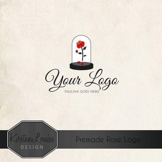 Premade Rose Logo - Beauty and the Beast Logo by KirstenLouiseDesign  #logodesign #beautyandthebeast #logo #roselogo #fairytalelogo #elegantlogo