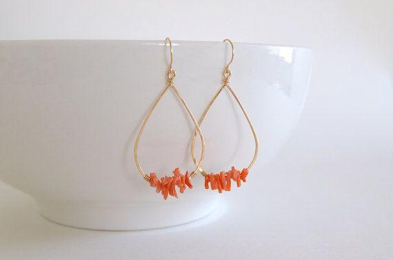 Peach Coral Branch Teardrop Hoop Earrings Gold Filled by sunlaces