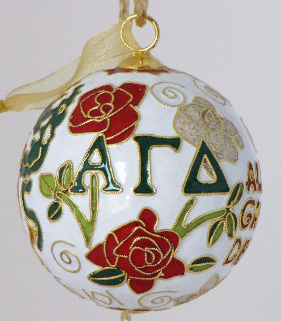 Alpha Gamma Delta Cloisonne Ornament with 24k Gold Plating