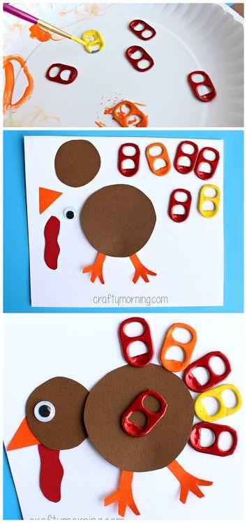 Soda Pop Tab Turkey Craft #Thanksgiving craft for kids // Pavo de acción de gracias con tabs de latas