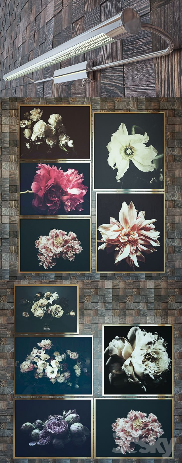 3d models: Frame - Collection of paintings of flowers. 10 paintings. Luminaire for lighting Paulmann 99,077 paintings
