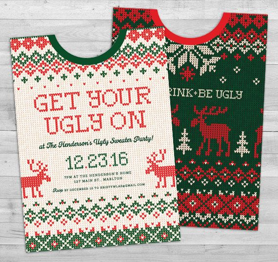 Ugly Sweater Party Invitation Ugly Sweater by WLAZdesignSHOP