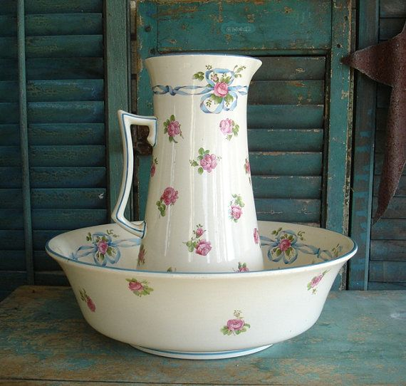 1920s Minton Wash Basin Bowl and Pitcher Set by JunkFromMyTrunk, $65.00