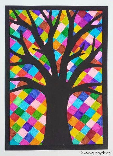 Onderwijs en zo voort ........: 2707. Septemberbomen : Silhouet op diagonale blokjes