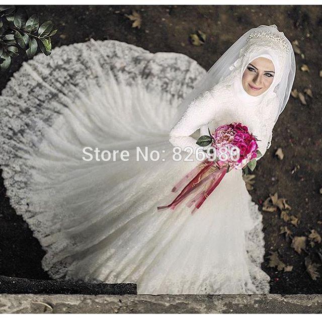Long Sleeve French Lace Muslim Wedding Dresses Hij…