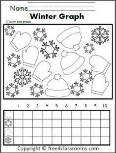 Free Winter Graphing Worksheet.  Fun for preschool, Kindergarten, and 1st grade.