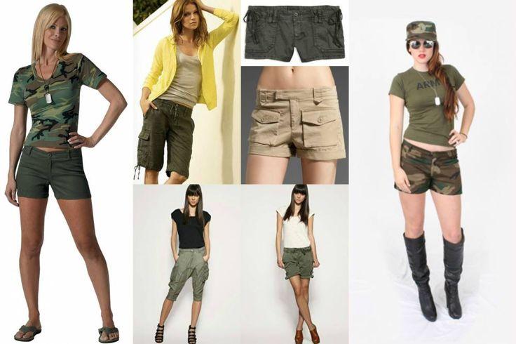 Женские камуфляжные шорты: объединение нежности и брутальности в образе.