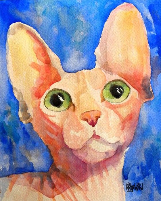 Sphynx Cat Original Watercolor Painting by dogartstudio on Etsy