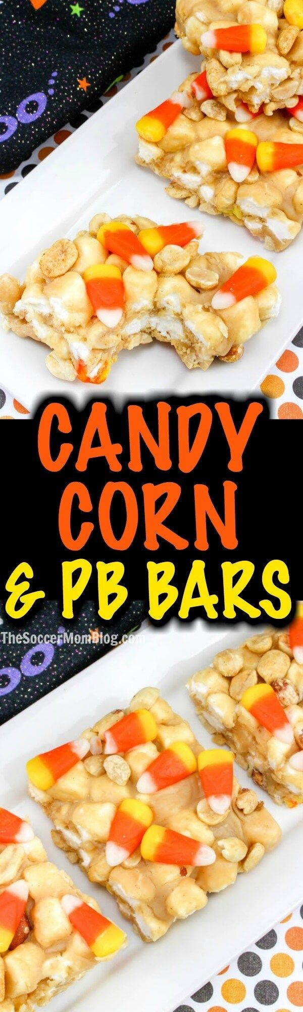 Peanut Butter & Candy Corn Marshmallow Bars— it's a long name, but that's because this fall dessert is packed with AWESOMENESS!!