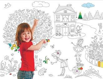 Плакат - раскраска для девочек  (Вы можете заказать любой размер плаката, написав письмо на адрес oboi-raskraski@mail.ru)
