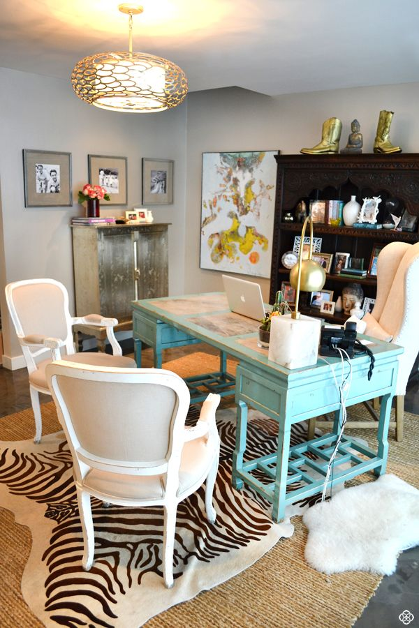 Eclectic office. Turquoise desk, zebra rug, gold accents.