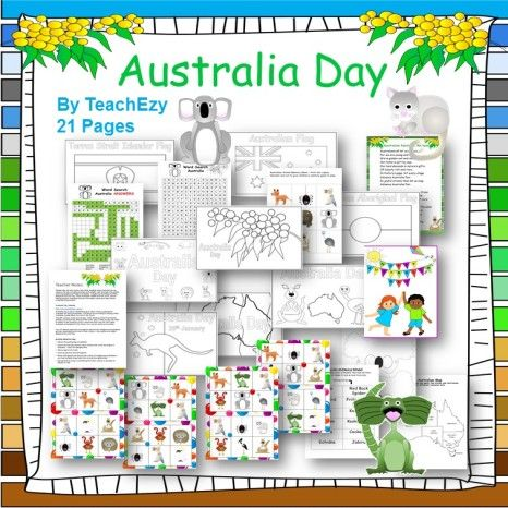 #Australia Day Resources. Games, colouring in, word search and more to help celebrate and learn about Australia Day. Click here to purchase at TPT $2.80 or subscribe with #TeachEzy at www.teachezy.com