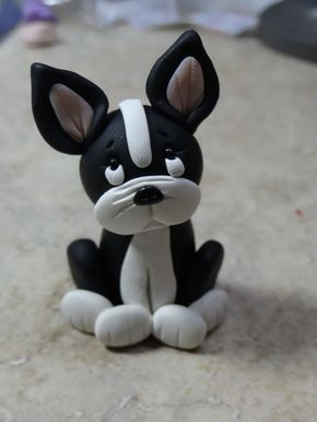 Boston Terrier Dog Clay Figurine by ClayCreationsbyLaura on Etsy