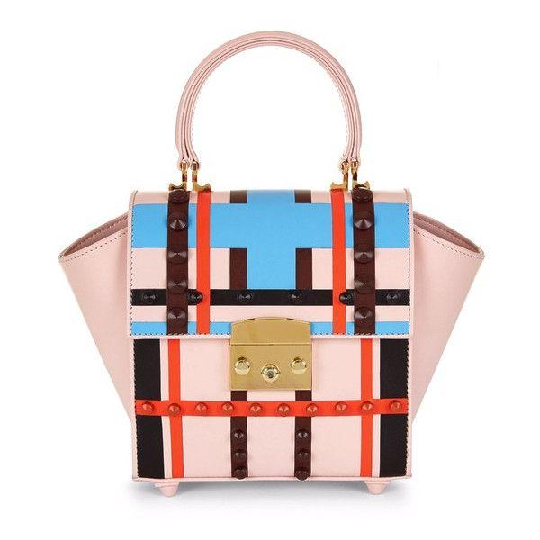 Mayra Fedane Mini Mia Lego Studded Bag found on Polyvore featuring bags, handbags, shoulder bags, purses, pink multi, man bag, leather shoulder handbags, leather shoulder bag, pink leather purse and shoulder handbags