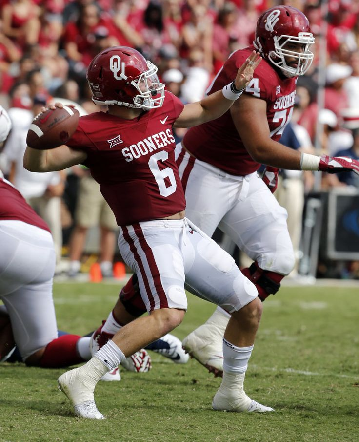 Oklahoma's Baker Mayfield (6) launches a pass on a three play touchdown drive during a college football game between the Oklahoma Sooners (OU) and the University of Texas at El Paso Miners (UTEP) at Gaylord Family-Oklahoma Memorial Stadium in Norman, Okla., Saturday, Sept. 2, 2017. Photo by Steve Sisney, The Oklahoman