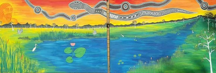 The painting represents the the birds gathering by the Billabong to feed and mat. Also the Ancestorial spirit is watching over them to make sure the cycle of life becomes complete.  SOLD