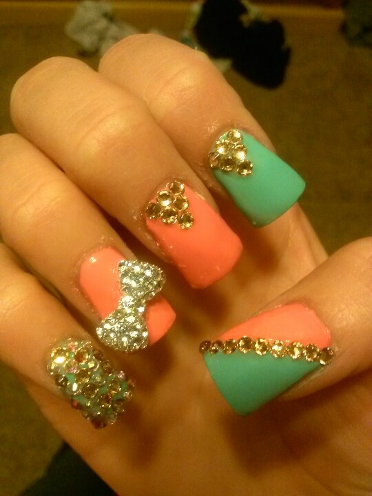 acrylic nails coral blue and gold bow diamonds favs