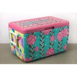 Painted Ice Chest / Cooler with DIY instructions - use a primer made for plastic and a waterproof sealer when finished