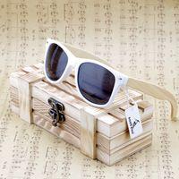 Bobobird Rectangular de Gran Tamaño De Bambú De Madera gafas de Sol Polarizadas Con Tinte Espejo Reflectante gafas de sol Con Caja de Regalo