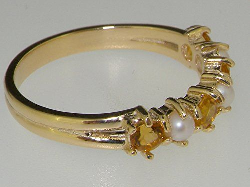 Solid 14K 585 Yellow Gold Cultured Pearl & Citrine Womens Eternity Band Ring – Size 4 – Sizes 4 to 12 Available http://www.easterdepot.com/solid-14k-585-yellow-gold-cultured-pearl-citrine-womens-eternity-band-ring-size-4-sizes-4-to-12-available/ #easter  This Delightful ring has been set with four matching Vibrant Golden Citrines and three Fabulous Cultured Pearls which look so elegant set against the Polished 14K Gold. These gemstones have been hand set in this luxury Solid 14K Yell..