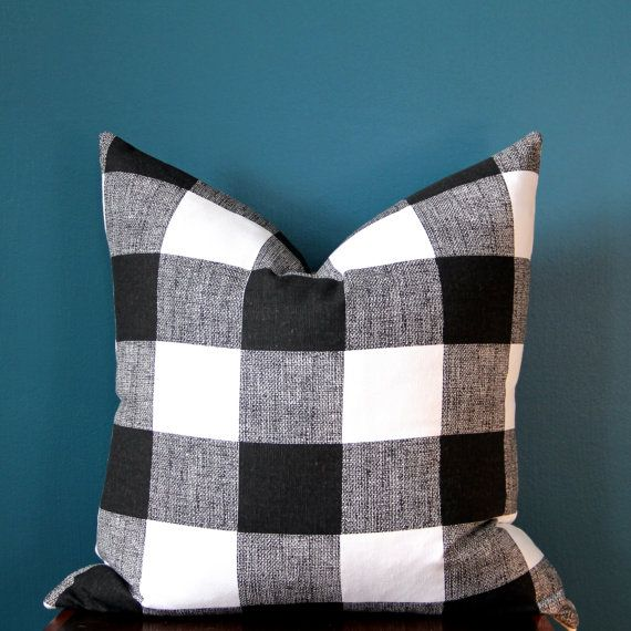 Buffalo Check Pillow Cover - Black and White Pillow Cover - Monochrome Nursery…