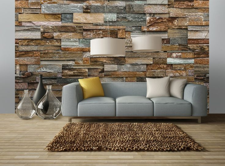Wall Mural Colorful Stone Wall Wall Murals / Photomurals Wall Murals 8-part