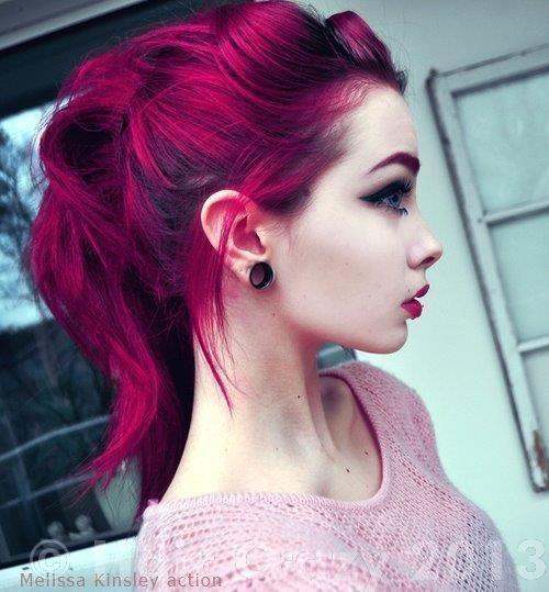 Deep dark pink hair