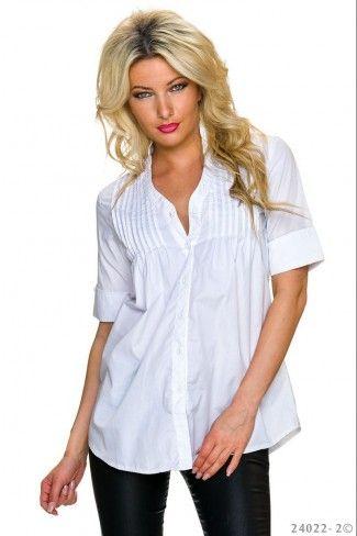 Φαρδύ κοντομάνικο πουκάμισο με πιέτες - Άσπρο