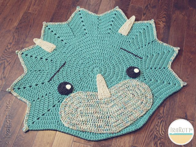 Tops The Triceratops Dino Rug Pdf Crochet Pattern Crochet Rug Dinosaur Rug Rug Pattern
