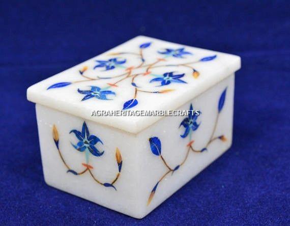 "1.6""x2""x3"" Marble Jewelry Box For Girls Lapis Marquetry Inlay Gift Decor H5473 #AgraHeritageMarbleCrafts #Marvelous #Marble #TrinketBox #GirlsGift #JewelryBox #Lapis #InlaidBox #MarquetryBox #Handmade #Arts #LuxuryousBox #Decor"
