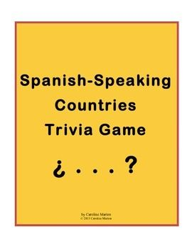 Need a fun activity or a sub plan? All 110 answers are names of countries where Spanish is an official language.  Even students who think they are no good at trivia can make an educated guess given the list of countries from which to choose. Spanish/Geography 6th-10th gr. $6.00