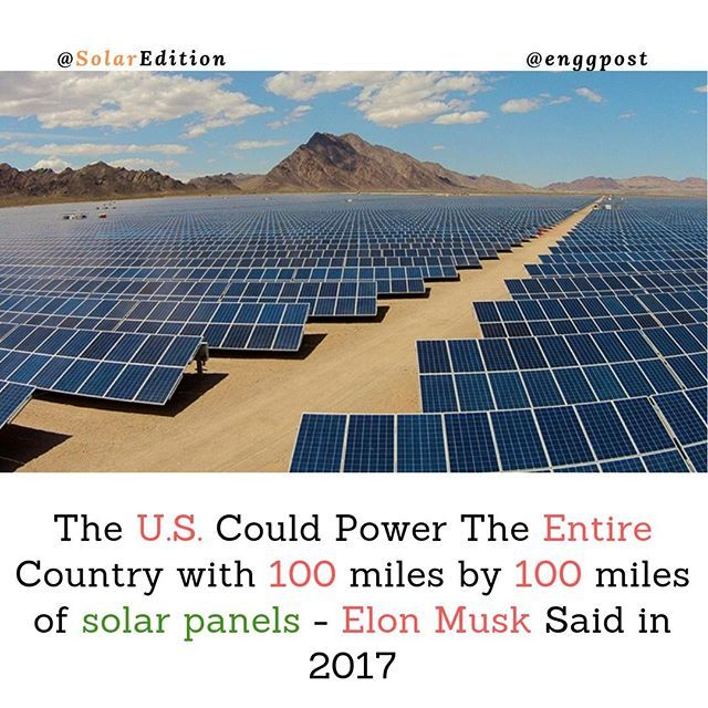 The Us Could Power The Entire Country With 100 Miles By 100 Miles Of Solar Panels In The United States Theoretically A Small Part Solar Solar Panels The Unit