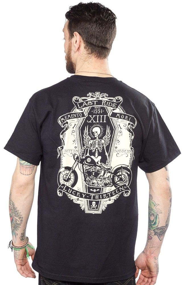 LUCKY 13 RIDE IN PEACE T SHIRT  Ever had to say farewell to your baby? Mark the occasion with with this Memento Mori Ride in Peace tee from Lucky 13. Featuring a white screen on a black 100% cotton tee, this shirt can be worn with pride in remembrance of your first or last two wheeled step-child. $25.00 #lucky13 #guys #tee #motorcycle #skeleton #biker