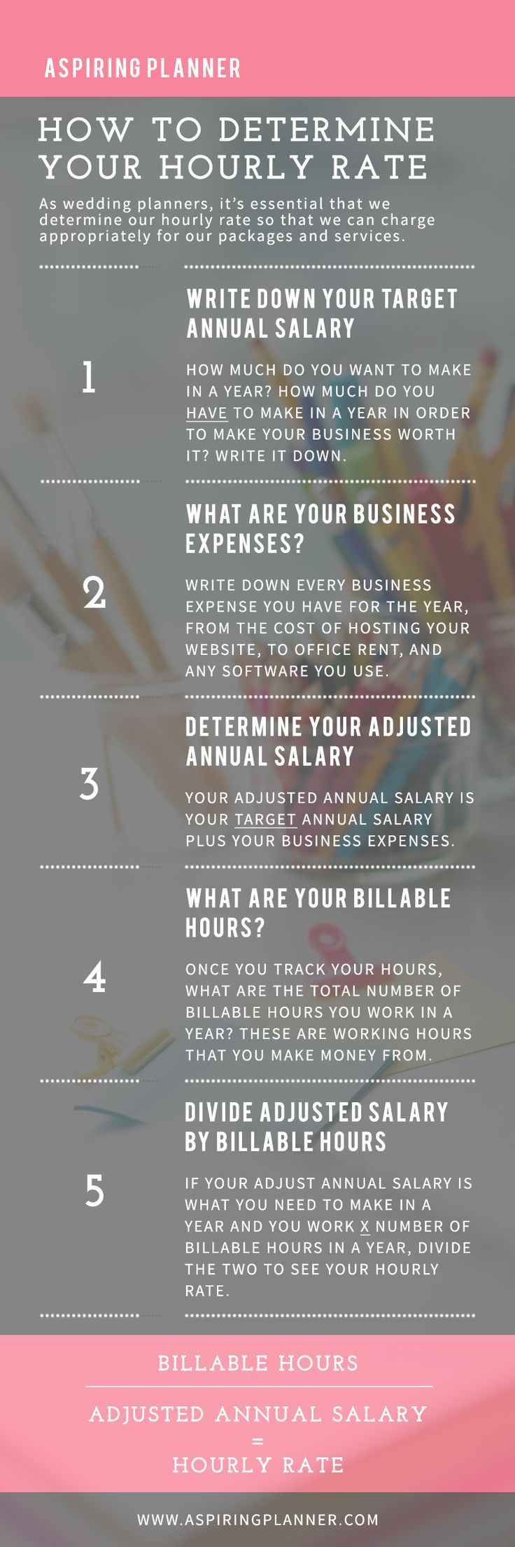 For Wedding Planners :: How to Price Your Wedding Services and Determine Your Hourly Rate | http://www.aspiringplanner.com