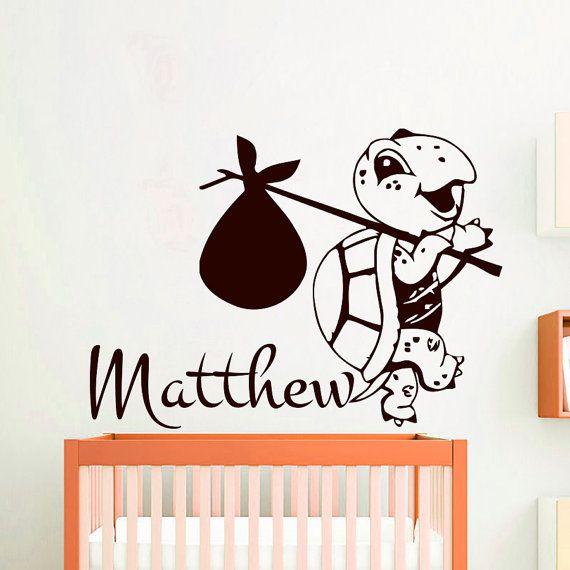 Stickers murali personalizzati nome decalcomania vinile adesivo tartaruga ragazzo bambino bambini vivaio camera da letto camera Decor Home Sala giochi arte murales MN704