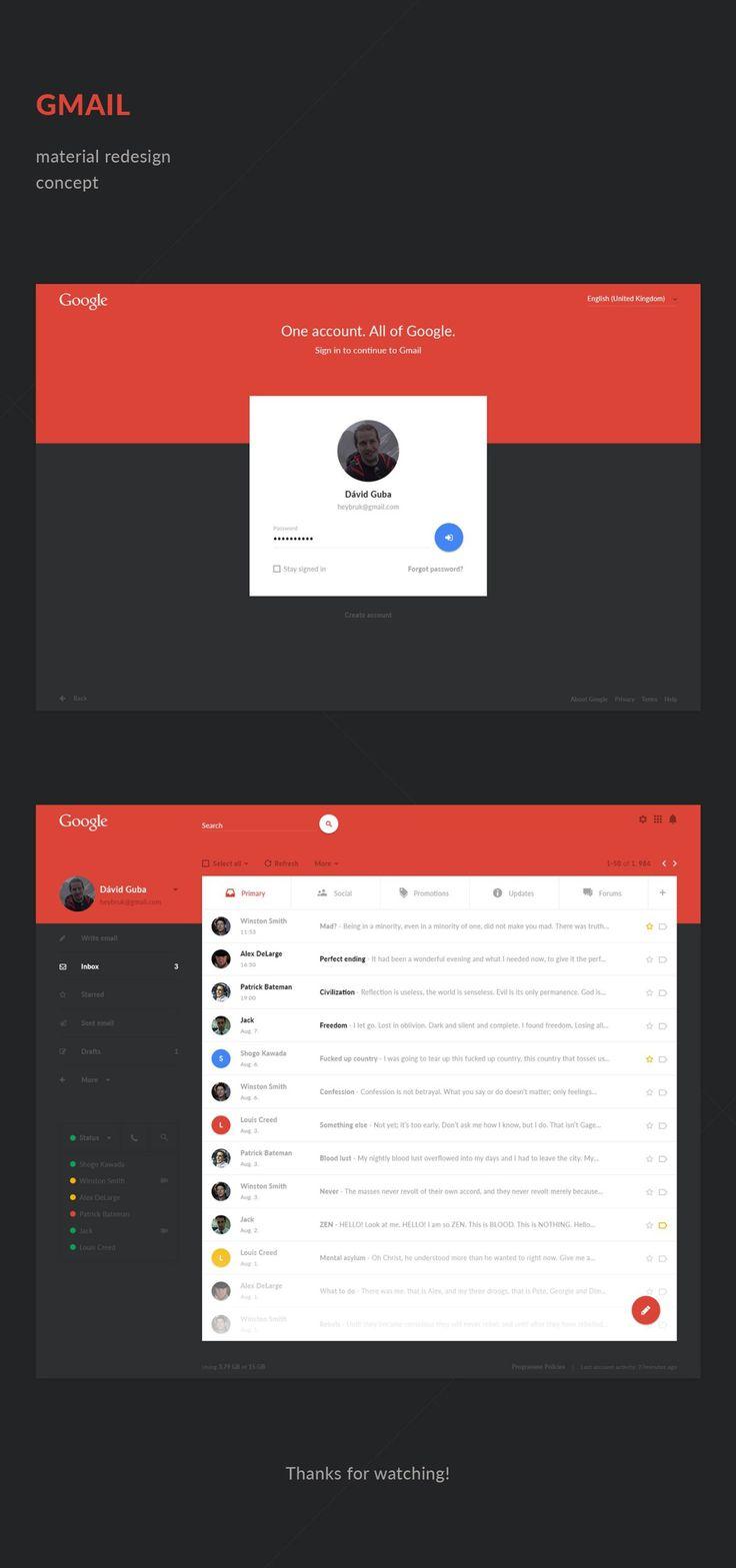 Projetos de redesign dos sites mais famosos da web (Gmail Redesign)
