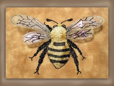 how to embroider a large goldwork bumble bee with realistic wings - YouTube