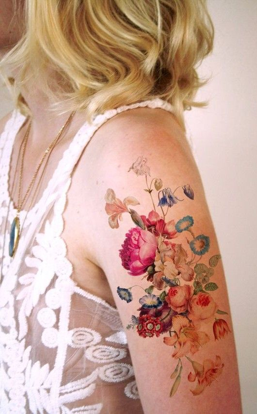 Cool Colorful Arm Tattoo, New Women Tattoos March 2016