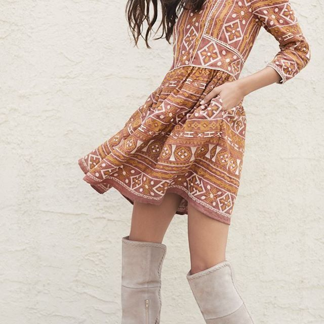 Natalia Embroidered Dress with Seychelles Rival Suede Over-The-Knee Boots   Shop Anthropologie