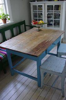 Vackra Saker: Vackert gammalt köksbord